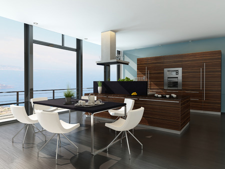 3D rendering of modern kitchen interior with scenic view photo
