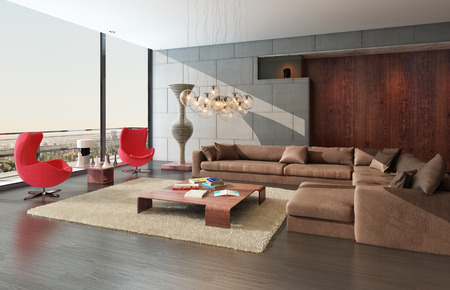 balcony window: 3D rendering of modern living room interior
