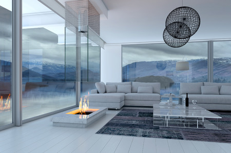 3D rendering of modern luxury living room interior and scenic view photo