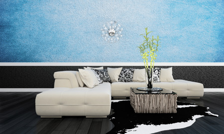 3D rendering of living room interior photo