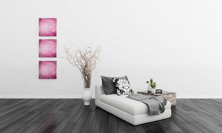 3D rendering of bedroom interior photo