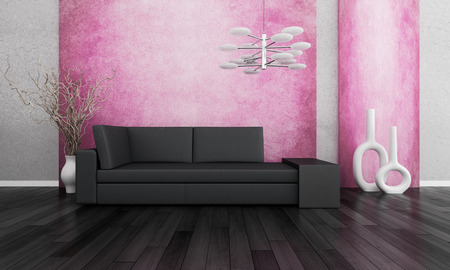 3D rendering of loft apartment interior with couch and dried branches in white vase against pink wall photo