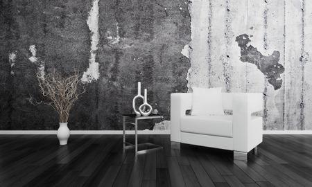 lighted: Modern Design Black and White Living Room Interior