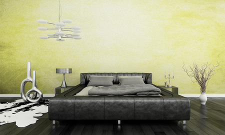 3D rendering of loft apartment interior with black bed against lime green wall photo