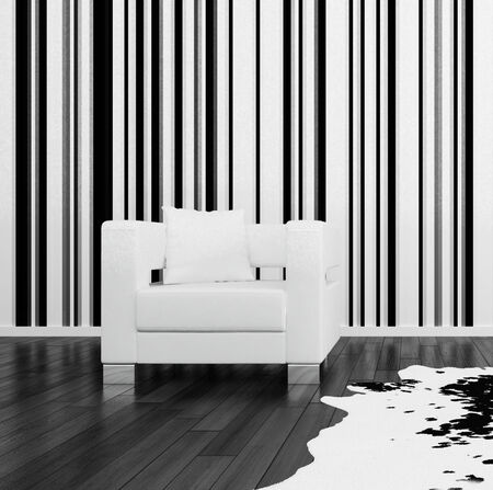 3D rendering of room in black and white. photo