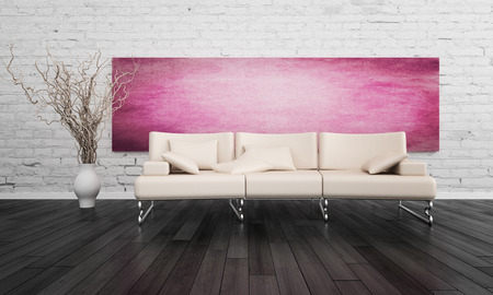 3D rendering of couch against white brick wall photo