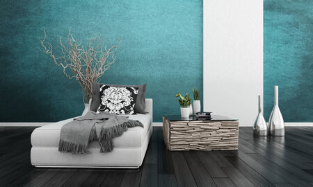 Couch and side table against turquoise wall photo