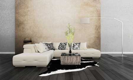 room wallpaper: 3D rendering of modern beige couch against wall Stock Photo