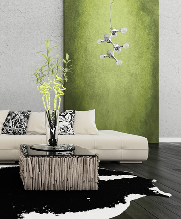 3D rendering of loft apartment interior with white couch against lime green wall photo