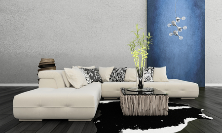3D rendering of living room photo
