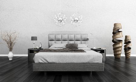 Huge bed standing against dark black wall
