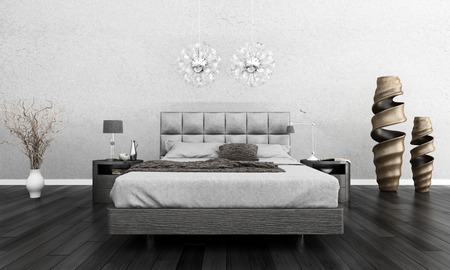 Huge bed standing against dark black wall