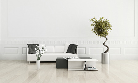 living rooms: 3D rendering of modern white couch against wall