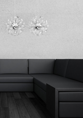 3d rendering of Modern black couch against white wall photo