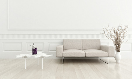 modern lifestyle: 3d rendering of modern beige couch in a white living room interior