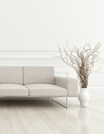 3d rendering of modern beige couch in a white living room interior
