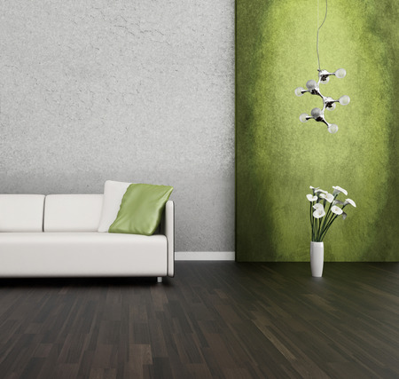 green couch: 3D rendering of loft apartment interior with white couch against lime green wall