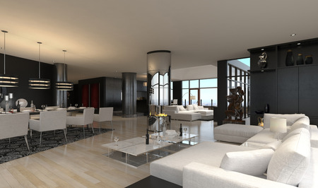 furnished: 3D rendering of spacious living room