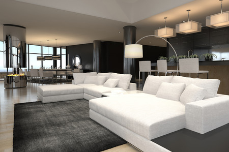 living room design: 3D rendering of spacious living room