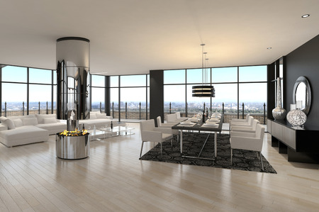 3D rendering of spacious living room photo