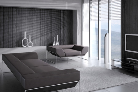 dark interior: Black couch against dark wall