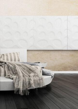 king size: 3D rendering of modern bedroom interior