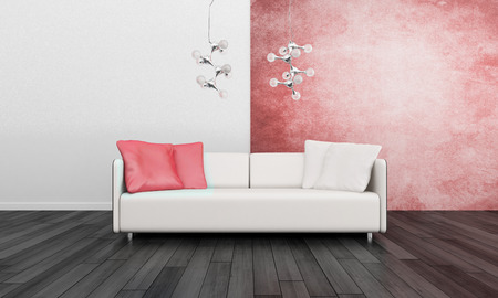 red wall: Modern white couch against red wall