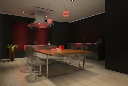 3D rendering of modern kitchen photo