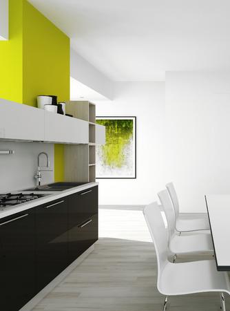 3D rendering of modern kitchen interior photo