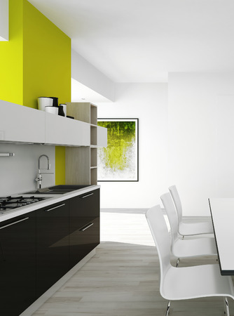 3D rendering of modern kitchen interior photo