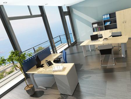 3D vykreslování moderní kancelář interiér s malebným výhledem Reklamní fotografie