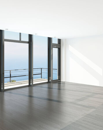 balcony view: Empty room interior with French windows and scenic view