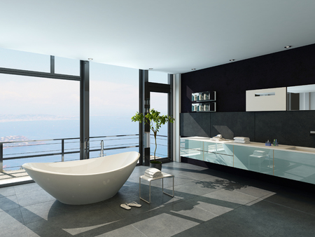 Bathroom interior with French windows and scenic view photo