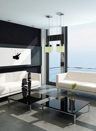 modern room: 3D rendering of modern living room interior