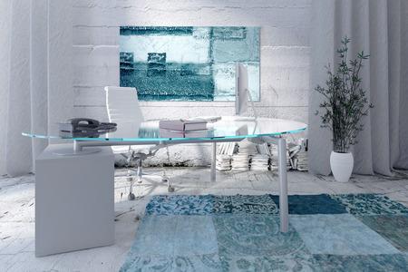 modern interieur: 3D-rendering van de moderne kantoor interieur