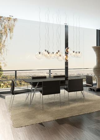 3D rendering of modern dining room interior photo