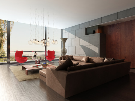 3D rendering of modern living room interior photo