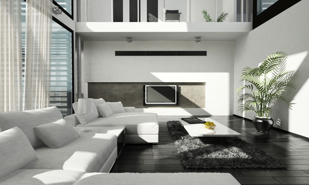 3D rendering of luxury living room interior photo