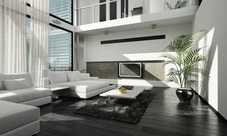 3D rendering of luxury living room interior