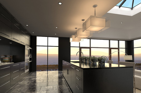 contemporary kitchen: 3D rendering of modern luxury kitchen interior
