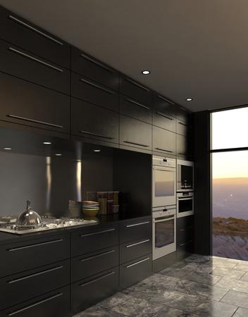 3D rendering of modern luxury kitchen interior