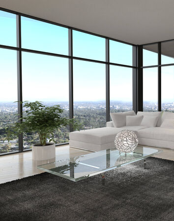 luxury room: Modern design living room with cityscape view