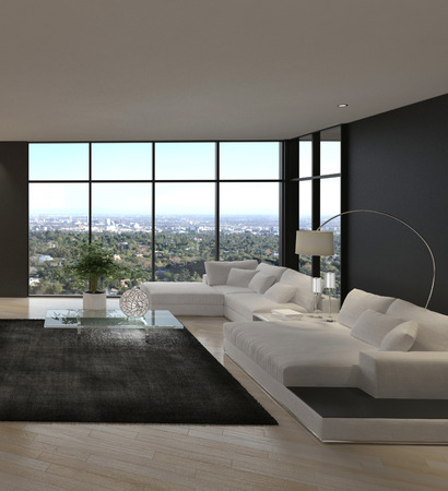 luxury living room: Modern design living room with cityscape view
