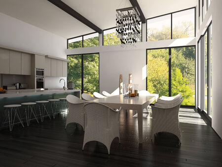 Kitchen and dining area in luxury home photo