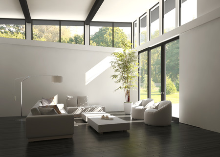 design interior: Modern white living room