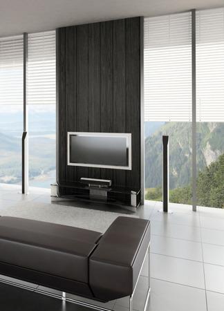 window shades: 3D rendering of modern living room interior