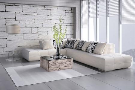 Pflanzen: Interior of Wohnzimmer mit Französisch Fenster und Blick