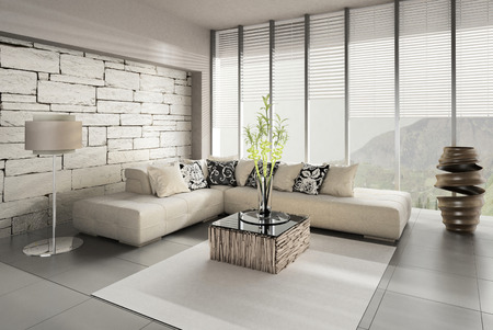modern sofa: Interior of living room with French window and view