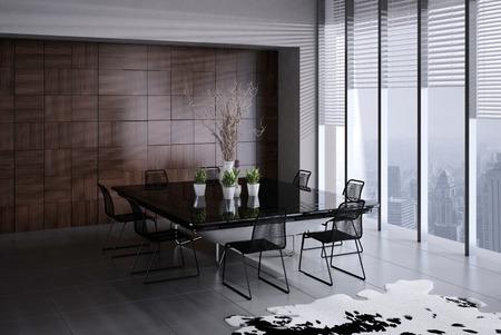dining room: 3D rendering of modern dining room interior