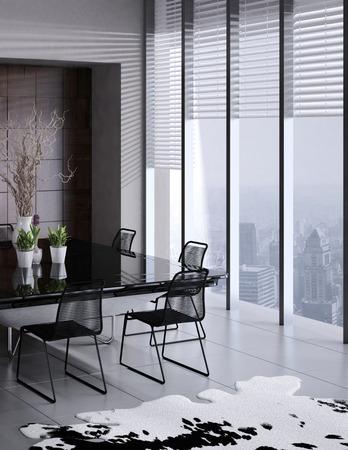 window shades: 3D rendering of modern dining room interior